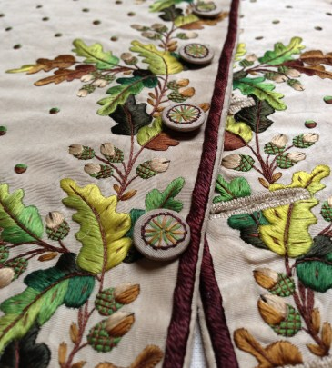 Embroidery and button detail, 1780-90, Wearing the Garden exhibition at Berrington Hall, 2014
