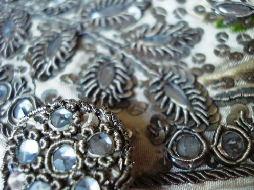 Detail of paste glass and coiled metal button decoration 1770-80, Court Waistcoat, Snowshill Costume Collection