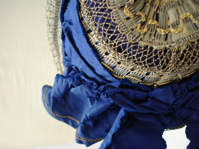 Detail of Crown, 1840s bonnet, Snowshill Collection
