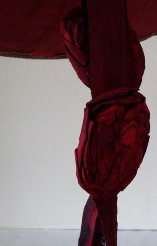 Detail of claret silk taffeta rosette Bergère 1750s