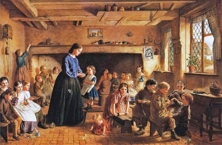 A Straw Plaiting School in Essex, George Washington Brown, 1864