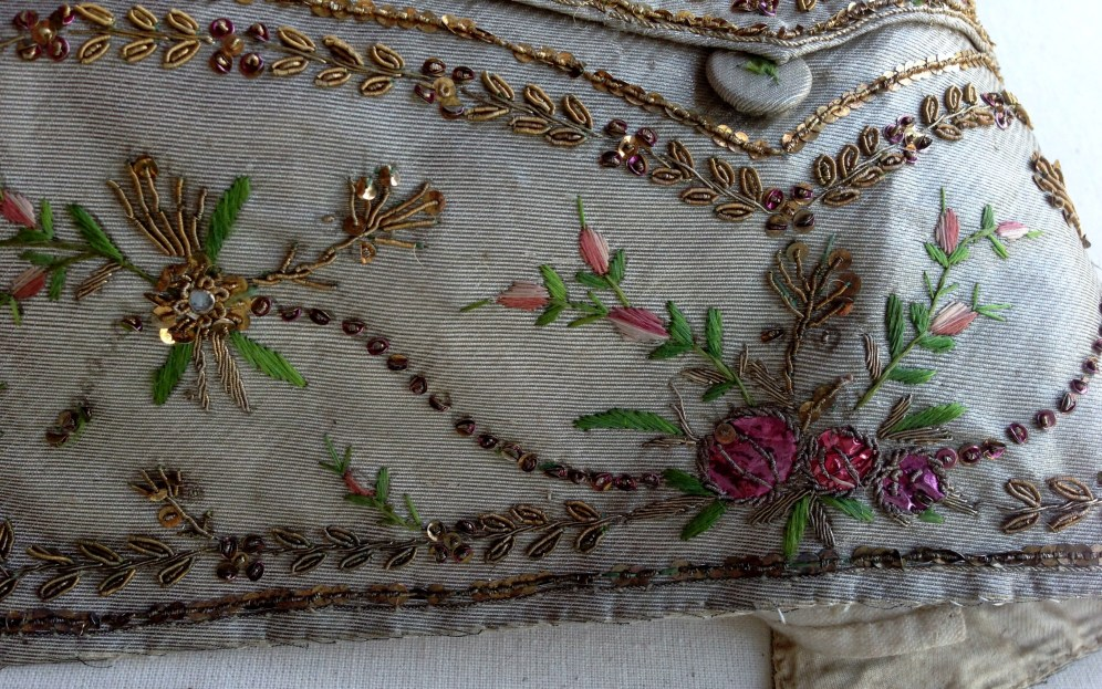 Pocket and button detail, Silver lamè silk waistcoat, 1775-80