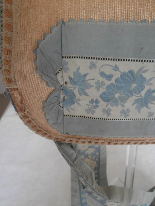 Ribbon Detail attached with pin, Poke Bonnet 1815-20