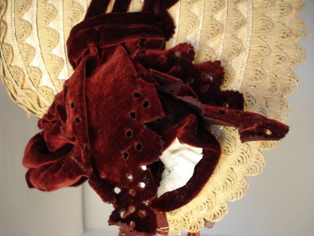 Detail of punched velvet trim, 1840s bonnet