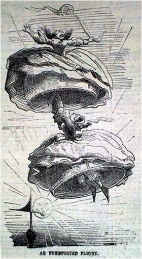 'An unemployed flight', 19th century satire on the the perils of wearing crinolines during windy weather.