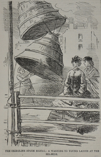 19th century satire on the the perils of wearing crinolines during windy weather.