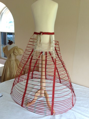 Front view, cage crinoline, 1860s, Snowshill Costume Collection