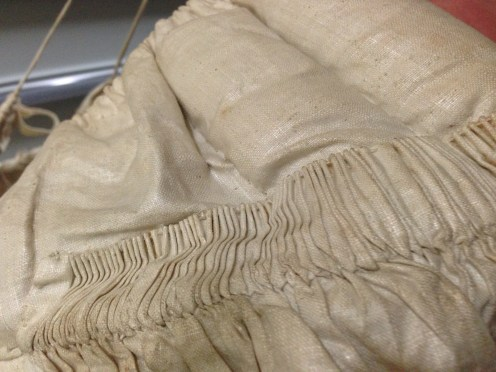 Detail of fleece wadding, hoops, 1840s, Hereford Museum Resource and Learning Centre