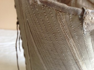 Stitch detail, 1770's Stays, Snowshill Costume Collection at Berrington Hall