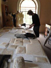 Althea Mackenzie, Costume Curator, selecting pieces for the display at Berrington Hall