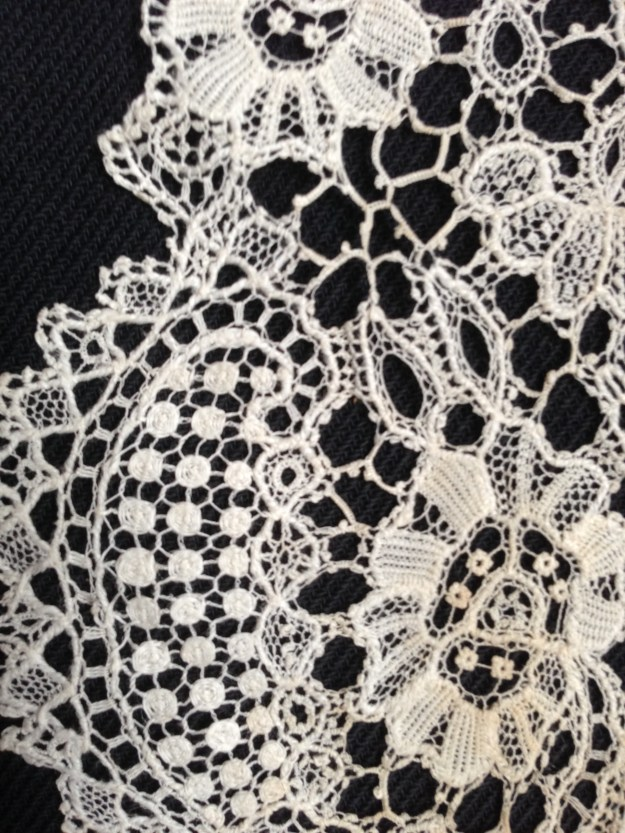 Bruge Flower Lace Collar detail, Charles Paget Wade Costume Collection at Berrington Hall