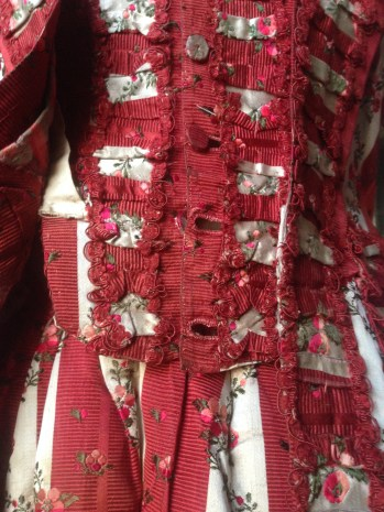 Stomacher detail, 1770s sackback dress, 'Gorgeous Georgians' exhibition at Berrington Hall 2014, Charles Paget Wade Collection,