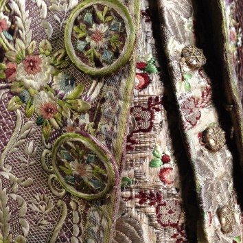 Button Detail of Court Waistcoat and Jacket, Gorgeous Georgians at Berrington Hall 2014. From the Charles Paget Wade Collection stored at Berrington Hall.