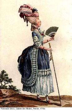 Gallerie des Modes et Costumes, polonaise dress, 1770s, http://18thcenturyblog.com