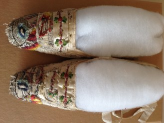 1820s Cream Silk Slippers adapted for fancy dress, Charles Paget Wade costume collection, stored at Berrington Hall