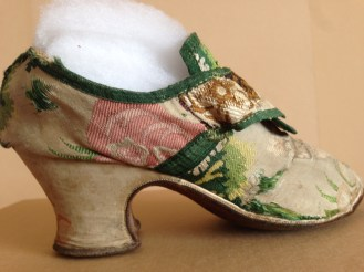 1730s Brocade uppers and heel covers, brown soles. Charles Paget Wade costume collection, stored at Berrington Hall