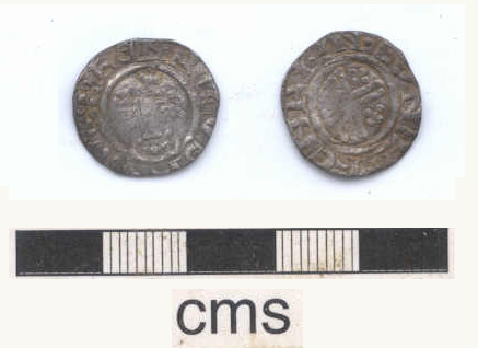 Medieval_coin,_hammered_silver_short_cross_penny,_class_4,_minted_by_Henri,_London._(FindID_192179)