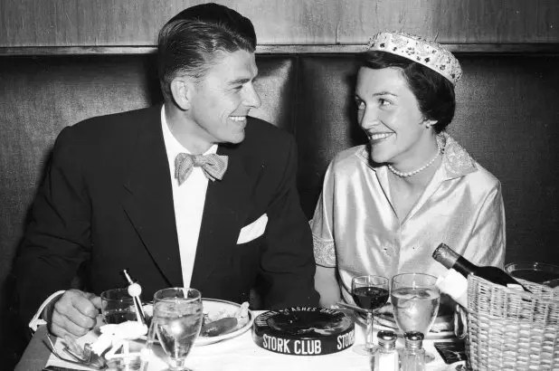 Ronald and Nancy Reagan during a honeymoon dinner, 1952.