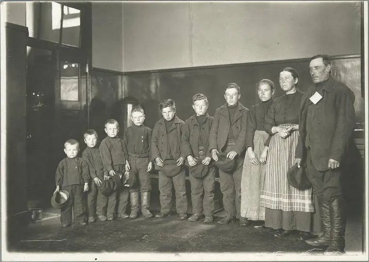 An immigrant family at Ellis Island, 1904.