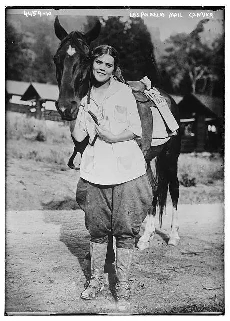 Mail carrier in Los Angeles, circa 1915