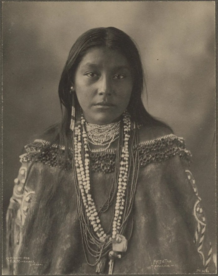 Portrait of Hattie Tom, an Apache Native American, 1899.