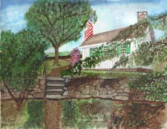 Path to the Privy - The Adams Schoolhouse - A watercolor painting by Tom Spurr