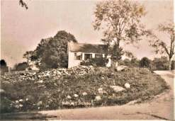 c.1095. The Adams schoolhouse in its original setting. Looking east from Sport Hill Road, Adams Road at the right.