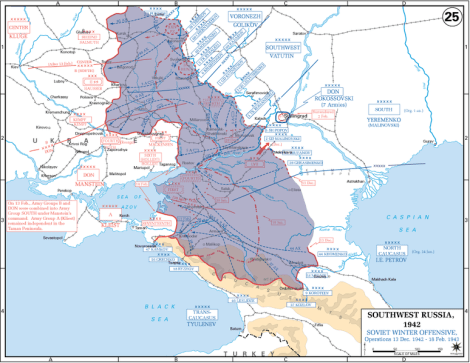 Soviet gains (shown in blue) during Operation Little Saturn after Stalingrad.