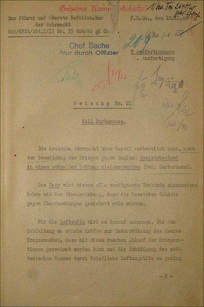 Weisung Nr. 21: Fall Barbarossa