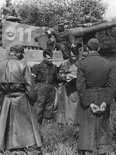 A commander of the 1st SS Panzer Division Leibstandarte SS Adolf Hitler looking at maps by a Tiger 1.