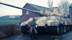 Re-enactors with the Tiger 2 at Le Gleize, Belgium.