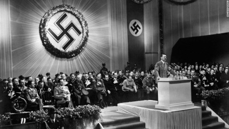1939 – Shows Adolf Hitler giving a speech.