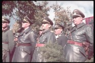 Right to left, front row: Adjutant Wilhelm Brueckner, Luftwaffe fighter ace Adolf Galland, Gen. Albert Kesselring and Gen. Johannes Blaskowitz view the victory parade in Warsaw after the German invasion of Poland, 1939.