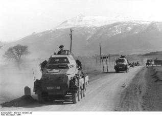 SdKfz 231 armoured cars of the LSSAH advance into the Balkans.