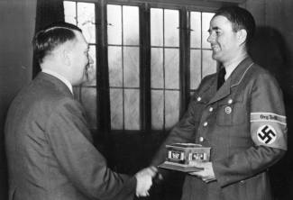 Speer (right) awarded an Org.Todt ring by Hitler - May 1943.