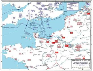 D-day assault map of Normandy and northwest coastal France.