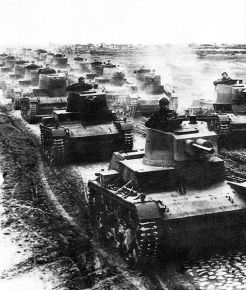 Polish 7TP light tanks in formation during the first days of the 1939 Defensive War.