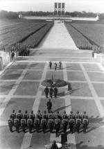 Heinrich Himmler, Hitler, and Viktor Lutze at the ceremony honouring the dead (Totenehrung) on the terrace in front of the Hall of Honour (Ehrenhalle) at the Nazi party rally grounds, Nuremberg, September 1934