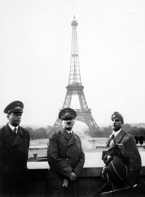 Hitler visits Paris with architect Albert Speer (left) and sculptor Arno Breker (right), 23 June 1940.