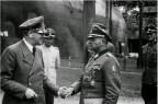 Adolf Hitler, Hermann Fegelein, Sepp Dietrich, and Hein Springer at the Wolfs Lair in East Prussia.