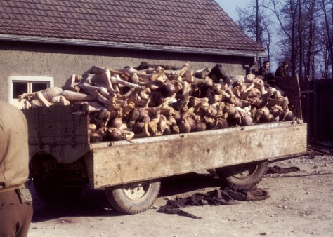 A wagon piled high with corpses outside the crematorium in the liberated Buchenwald concentration camp (April 1945).