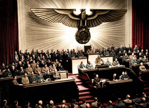 Hitler, announcing the declaration of war against the United States to the Reichstag, on 11 December 1941.