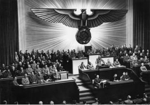 Hitler during his speech to the Reichstag attacking American President Franklin D. Roosevelt, 11 December 1941.