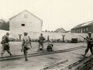 Waffen-SS soldiers are executed by the U.S. Army at Dachau on 29 April 1945.
