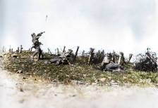 German 'Sturmtruppen' seen here in a training exercise throwing a stielhandgranate.