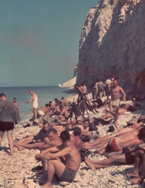 The year was 1940 and this rare colour photo shows a unit of Hitler's army relaxing as they waited to see if they would be called on to cross the Channel and attack.
