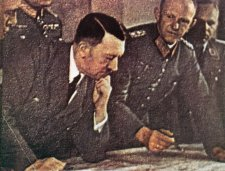 Adolf Hitler with Benito Mussolini (left) and Generaloberst Alfred Jodl (2nd from right).