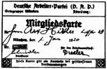 A copy of Adolf Hitler's German Workers' Party (DAP) membership card