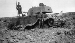 German soldiers with a destroyed Soviet KV-1 tank at Kaunas.