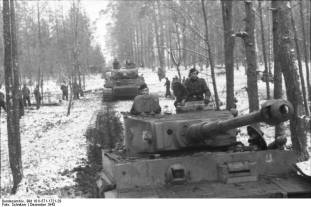 2.SS Panzergrenadier-Division Das Reich. when driving on a road in snow covered forest December 1943.